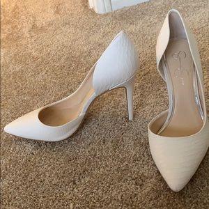 Jessica Simpson white heels